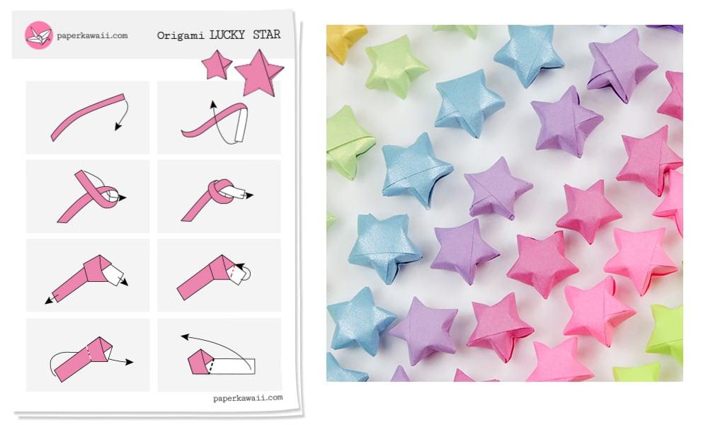Origami Lucky Star Diagram Paper Kawaii Shop
